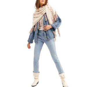 Free People Boucle Striped Triangle Scarf Ivory
